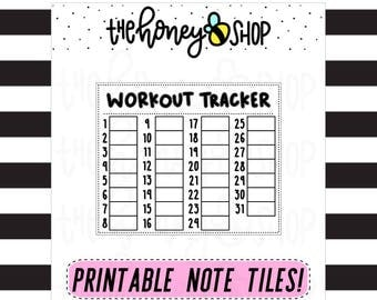 Workout Tracker | PRINTABLE NOTE TILE