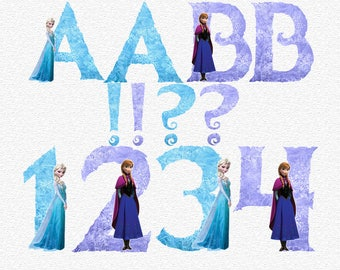 Frozen Alphabet   Instant Download   Digital Letters and Numbers   Printable Letters and Numbers