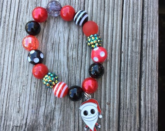 Jack Santa Charm Bead Bracelet // Beaded Bracelet // Stretch Bracelet // Jack Skellington // Kid Bracelet // Nightmare Before Christmas