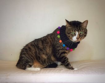Crochet Cat Collar Elastic Pet Necklace Black Wide Collar with Multicolored Pompoms Unique Handmade Pet Accessories