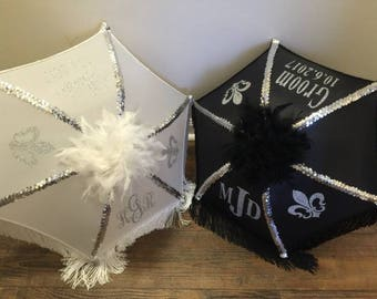 Authentic Orleans Second line Umbrellas, Wedding Parasols, Monogram set