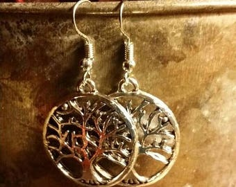 Holiday SALE 85 % OFF Bohemian  Tree Disc Dangle  Earrings .925 Sterling Silver