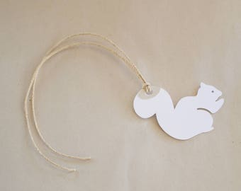Squirrel Gift Tags - Set of 8 White Squirrel Hang Tags