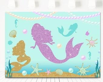 SALE Mermaid Party Table Backdrop, Mermaid Birthday Table Sign, Purple Teal Glitter Gold Mermaid Background Sign, Mermaid backdrop