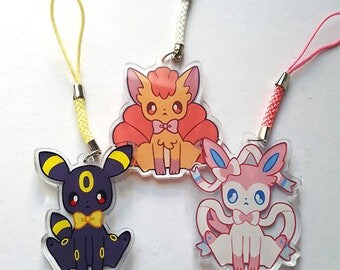 Vulpix Slyveon Umbreon Charm Keychain
