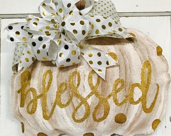 White and Gold Pumpkin Door Hanger