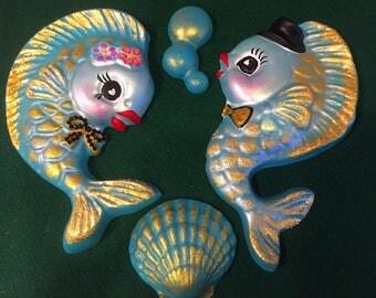 Chalkware Fishie Family