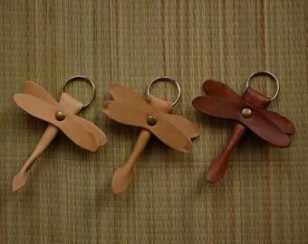 leather keyring dragonfly imitation
