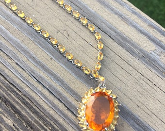 Citrine Yellow and Orange Cz Sterling Silver Summer Dinner Necklace