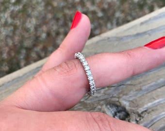 Diamond Eternity Band Vintage .80 Carat Natural diamond 14k Solid White Gold circa 1940 Engagement Ring Wedding or Anniversary