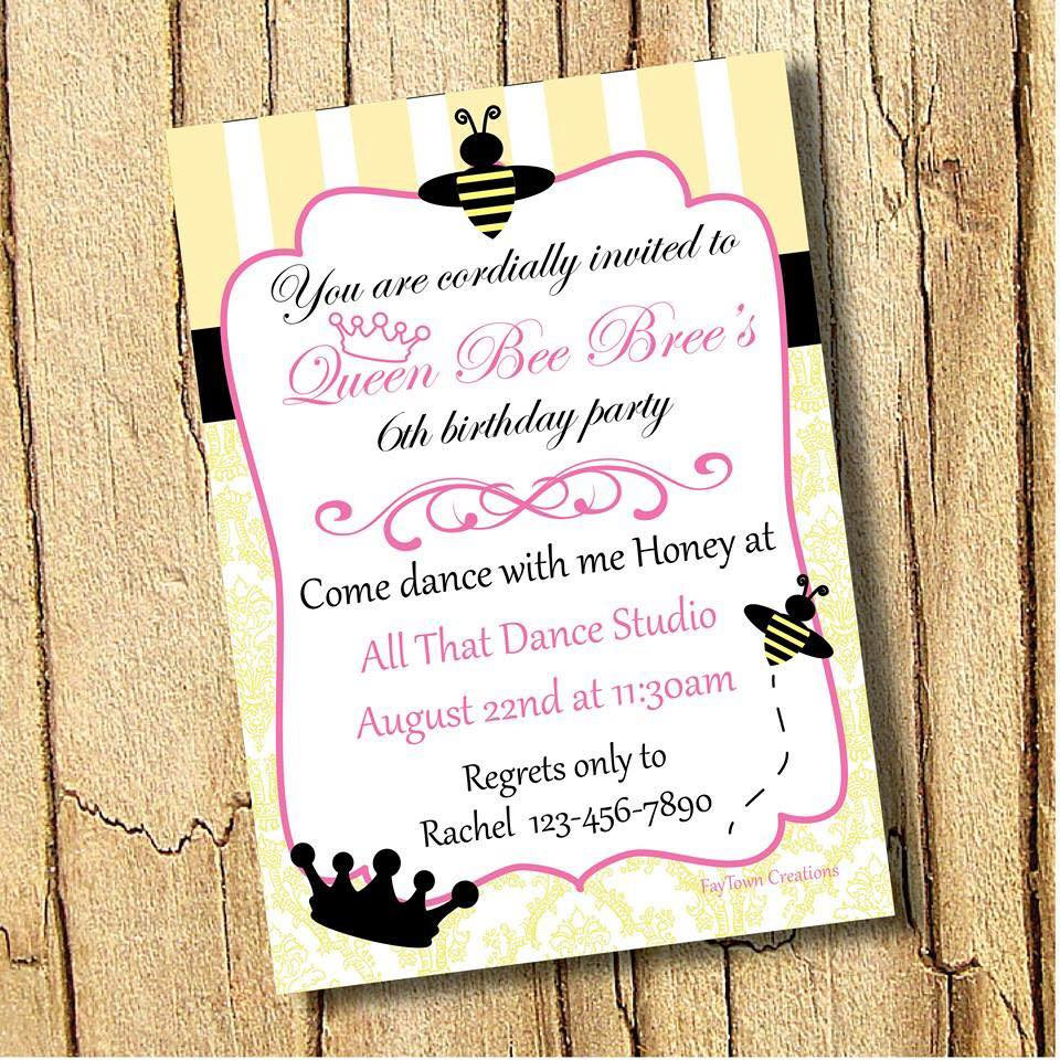 Queen Bee Invitation, happy birthday honey invite, honey bee ...
