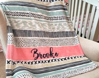 Personalized baby blanket, Custom blanket, Cozy fleece name blanket - Coral Aztec