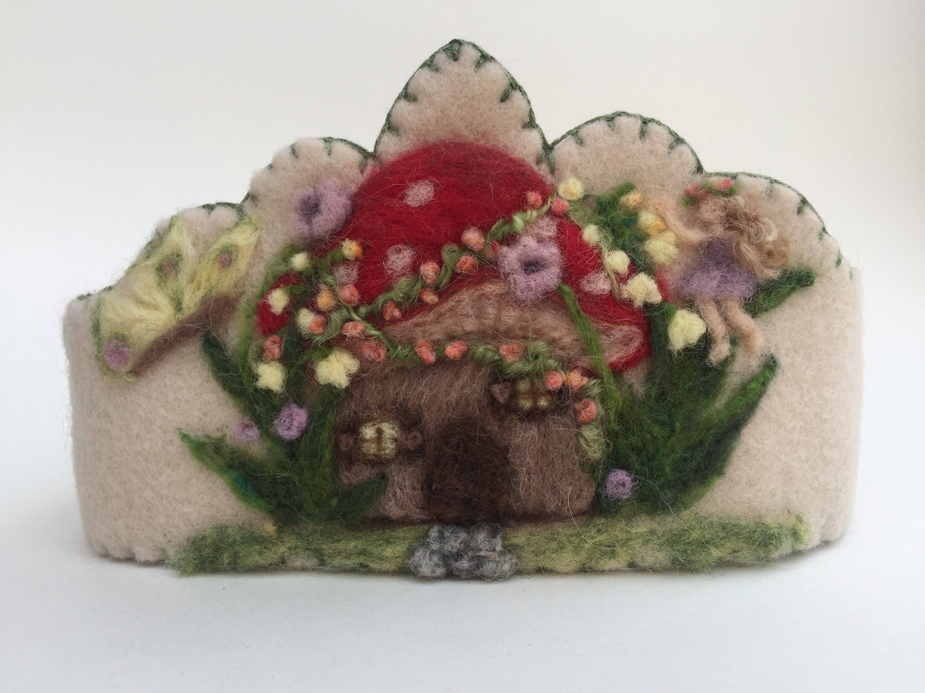 Felt Crown , Birthday Crown, Waldorf Crown - Toadstool Gnome Home