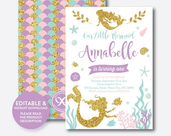 Instant Download, Editable Mermaid Birthday Invitation, Mermaid Invitation, Glitter Mermaid Invitation, Mermaid Party Invitation (GKB.05)