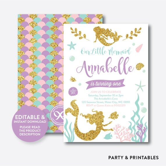 instant download editable mermaid birthday invitation mermaid