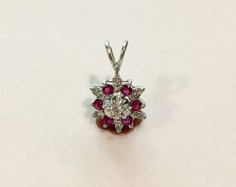 14K Solid White Gold Ruby and Diamond Pendant~Nice!