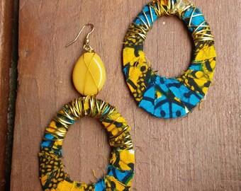 Blue and Yellow Tribal Print Teardrop Earrings, Blue, Yellow, Tribal Print, Teardrop Earrings, Wire Wrapped Earrings