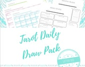 LETTER SIZED | Tarot Daily Draw Pack | Tracker + Review 2 in 1 Printable | Tarot Journal | Study