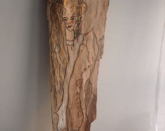 Driftwood painting on board, natural woman