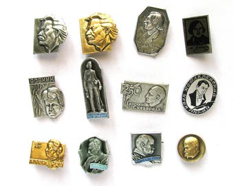 Russian and Ukrainian Writers and Poets, Badges, Set, Poet, Vintage collectible badge, Soviet Vintage Pin, Soviet Union, Made in USSR