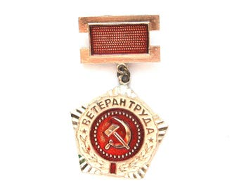 Veteran of Labour, USSR award, Badge, Communism, Vintage collectible metal badge, Made in USSR, 1980s