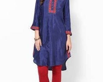 Blue viscose and silk blend straight kurta.