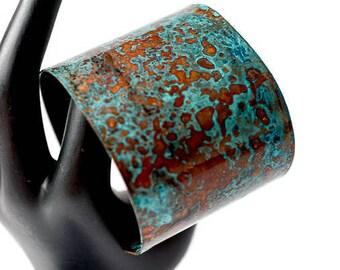 Wide Copper Patina Cuff Bracelet, Copper Bracelet, Turquoise Bracelet, Blue Patina Cuff, Statement Bracelet