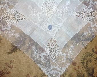 VINTAGE LACE HANDKERCHIEF. Wedding handkerchief. Unused. With tag. Handkerchief with lace. White lace handkerchief.