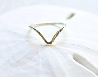 Chevron ring, Sterling chevron ring, Stacking ring, Hammered ring, Sterling ring
