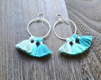 Tassel Hoop Earrings Sterling,  Mini Tassel Earrings, Cotton Tassel Earrings, Multi Tassel Hoops,