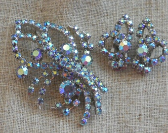 1950s crystal brooch and earrings set - Continental