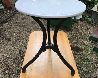 Vitrolite Milkglass Cafe Ice Cream Parlor Table Vintage Industrial Mercantile Boutique NYC Bistro French Victorian