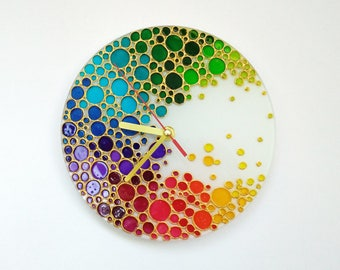 Rainbow Wall Clock  Multi color bubbles Hand Painted Silent Wall clock