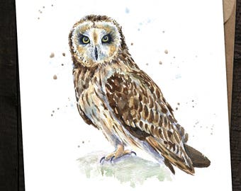 Owl Card, Owl Birthday Card, Owl, British Wildlife, Short Eared Owl