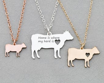 Cow Necklace • Cattle Jewelry Personalized Pet Cow Jewelry • Farm Animal Lover Gift Funny Dairy Cow Gift • Farm Cattle Charm Cow