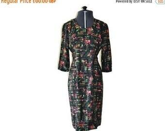 "Summer Sale 1960's Vibrant Day Dress // Bright Vintage Casual Dress // Waist 26"""
