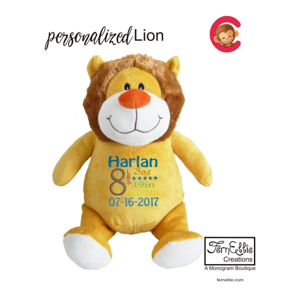 LION Personalized Cubbies, Stuffed Animal Gift, Birth Stats, Monogrammed Gift, Personalized Teddybear* Plush Toys*