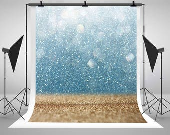 Bokeh Glittery Gold and Blue Vintage Lights Photography Backdrops Newborn Baby Photo Backgrounds for Children Birthday Studio Props