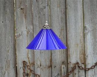 Vintage medium handmade Italian blue glass cooli pendant light lamp shade MBSR4