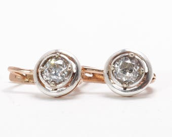 Vintage Diamond Earrings | Rose Gold | Drop | 1.39 Carats | Mixed Metals | Old European Cut | Soviet Era Hallmarks | Russian | Item 8