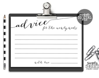 Wedding Advice Cards For The Newlyweds - Bride and Groom Elegant Fancy Unique Wedding Advice Cards Newly Weds - 5x7 2 Per Page Printable PDF