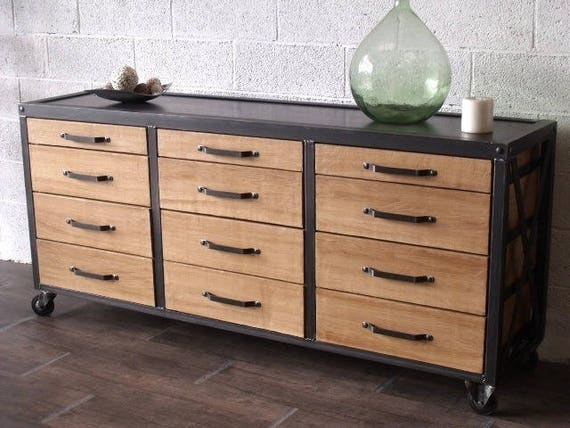 items similar to buffet storage 12 drawer metal industrial. Black Bedroom Furniture Sets. Home Design Ideas