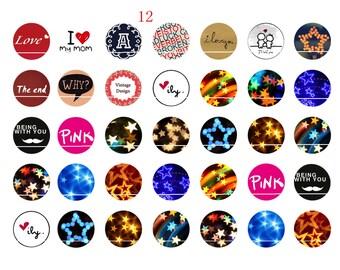216 # star 35 Images/designs digital 12mm round cabochon