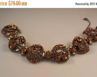 20% OFF SALE Vintage 1955 COPR. Hollycraft Topaz Rhinestone Linked Bracelet Antiqued Gold Tone