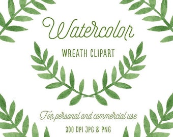 Watercolor Clipart - Wreath Clipart - Woodland Clipart - Boho Clipart - Rustic Clipart - PNG & JPEG Files - Instant Download