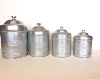 kitchen canisters french aluminum canisters etsy 12965