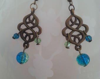 Bohemian earrings turquoise and green