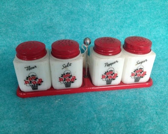 Tipp City Range Shaker Set Red Flower Baskets Salt, Pepper, Flour and Sugar Red Lids and Tray With Handle