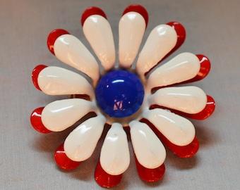 Cute Vintage Flower Brooch - Red, White, and Blue, Enamel over Metal, 1960s