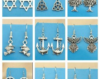 stud earrings mistyc wiccan celtic bijoux handmade shop italy orecchini corti con simboli mistici in argento tibetano